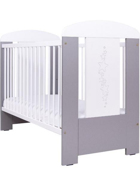 Dětská postýlka Drewex Hvězdičky se stahovací bočnicí - stříbrno bílá 120x60 cm