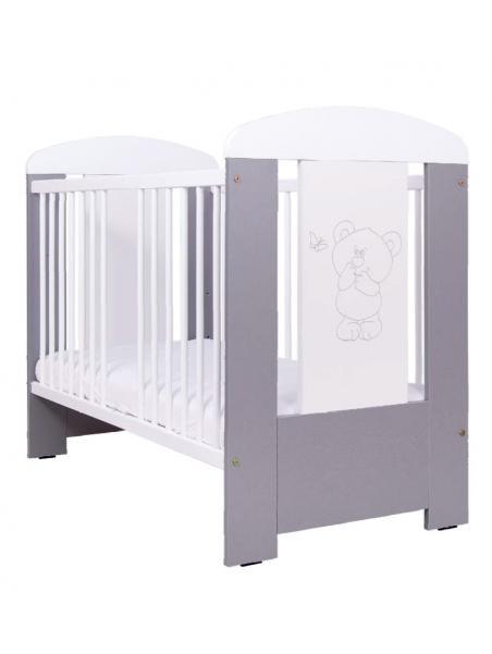 Dětská postýlka Drewex Medvídek a motýlek - stříbrná 120x60 cm
