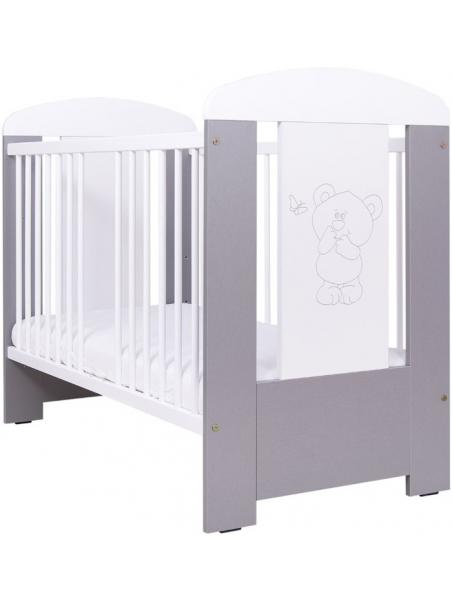 Dětská postýlka Drewex Medvídek a motýlek se stahovací bočnicí - stříbrná 120x60 cm