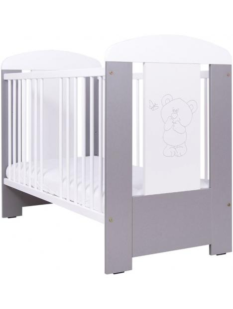 Dětská postýlka Drewex Medvídek a motýlek se šuplíkem - stříbrná 120x60 cm