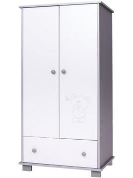 Dětská skříň Drewex Medvídek a motýlek - stříbrná