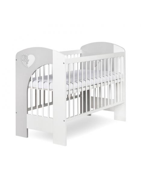 Dětská postýlka Klups Nel srdíčko - bílá/šedá 120x60 cm