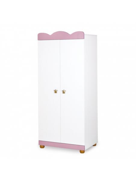 Dětská skříň Klups Princezna - růžová / bílá