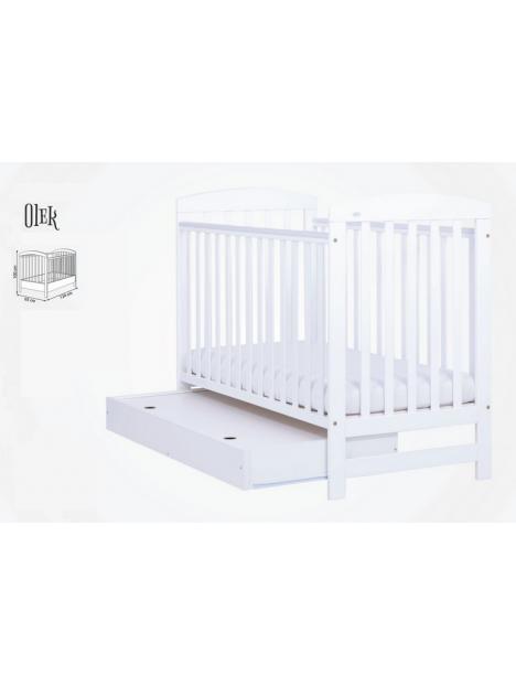 Dětská postýlka Drewex Olek se šuplíkem - bílá 120x60 cm