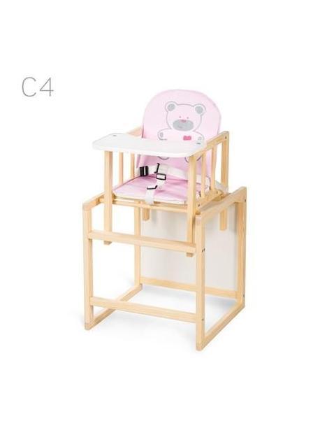 Jídelní židlička Klups Aga borovice C4 – růžová
