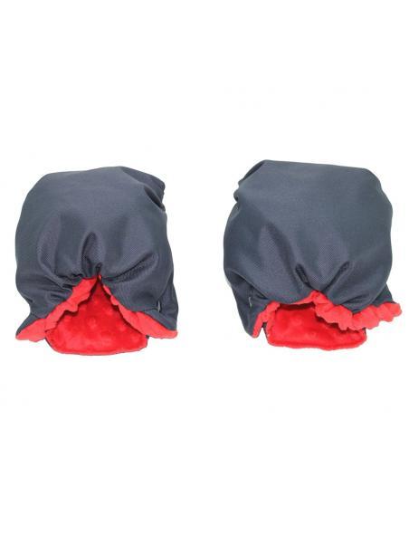Rukávník Karex - Minky šedá s červenou výplní