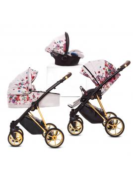 Kombinovaný kočárek Baby Active Musse Light Rose + autosedačka