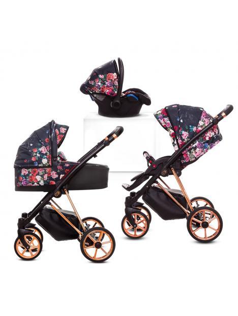 Kombinovaný kočárek Baby Active Musse Dark Rose + autosedačka