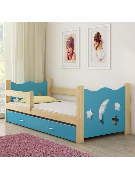 Dětská postel ACMA III modrá/dřevo 160x80 cm + matrace zdarma