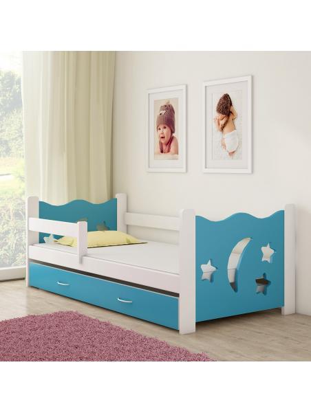 Dětská postel ACMA III modrá/bílá 160x80 cm + matrace zdarma