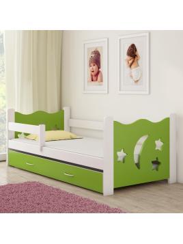 Dětská postel ACMA III zelená/bílá 160x80 cm + matrace zdarma