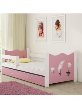 Dětská postel ACMA IIIrůžová/bílá 160x80 cm + matrace zdarma