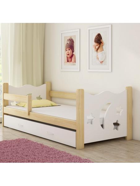 Dětská postel ACMA III bílá/dřevo 160x80 cm + matrace zdarma