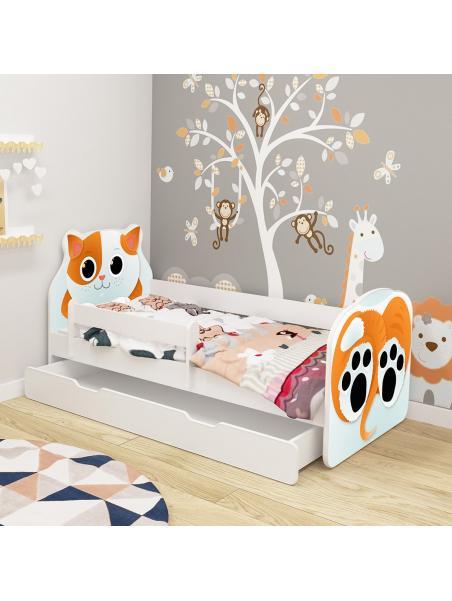 Dětská postel ACMA VII Kočka140x70 cm se šuplíkem + matrace zdarma