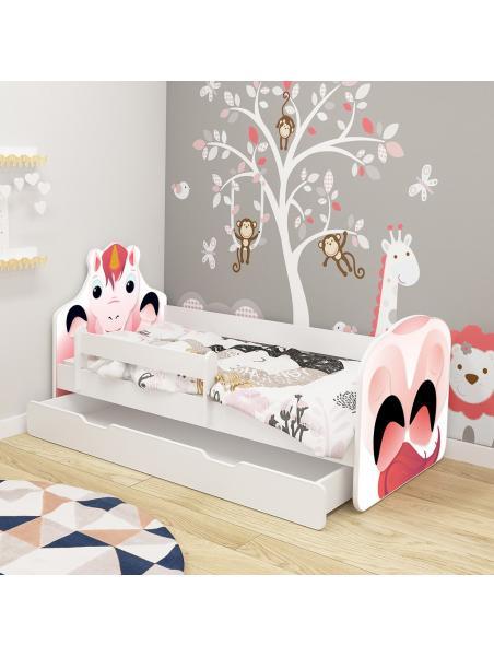 Dětská postel ACMA VII Jednorožec 140x70 cm se šuplíkem + matrace zdarma