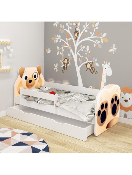 Dětská postel ACMA VII Pes 140x70 cm se šuplíkem + matrace zdarma