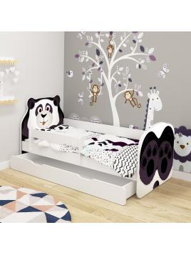 Dětská postel ACMA VII Panda 140x70 cm se šuplíkem + matrace zdarma