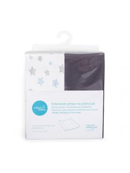 Potah na přebalovací podložku (50x70-80 cm) 2Ks Ceba Baby (tmavě šedá/modré hvězdičky)